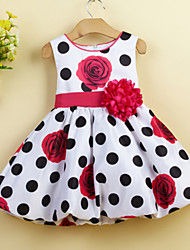 Girl's Party/Cocktail Floral DressAcrylic All Seasons Red