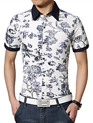 Men's Fashion China Style Print Short Sleeved Shirt