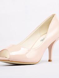 Stiletto - Kunstleder - FRAUEN Peep Toe - Pumps / High Heels ( Schwarz/Rosa )
