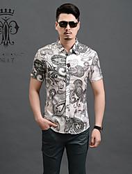 YINHUAWANGZI®Men's Exempt Iron Shirts Casual/Slim/Personality/Printing/Plus Size Short Sleeves Shirts (Cottons/Silk)