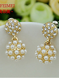 Korean version of the exquisite pearl earrings ladies temperament shining ball diamond earrings female full circle