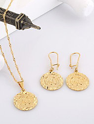 WesternRain Fashion Women Brass Stamped Jewelry Gold Plated Pendant Necklace Earrings Set With Carving Coin Shape
