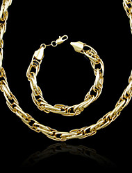 18K Real Gold Plated Multilayer Necklace+Beacelet Jewelry Set