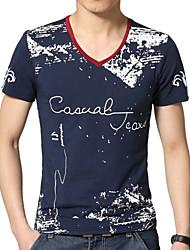 Tee-Shirt Décontracté/Grandes Tailles Pour des hommes Manches Courtes A Motifs Coton/Polyester