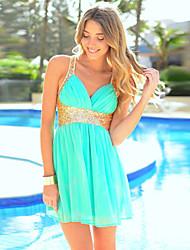 Morefeel Women's Chiffon Beach Sequin Backless Dress