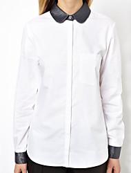 Women's PU Leather+Chiffon Long Sleeve Blouse