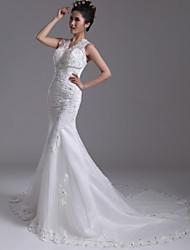 Trumpet/Mermaid Court Train Wedding Dress -V-neck Organza