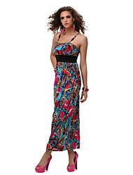 PinkQueen®  Women's Blended Supporter Printed Sleeveless Low Thoracic Cavity Dew Shoulder Evening Dress