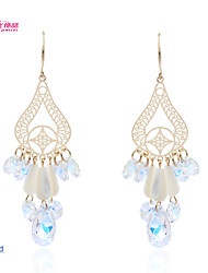 Lady's Alloy/Pageant/ Neoglory Jewelry Chandelier Earrings with Natural Shell and High Sparkly Drop Crystal