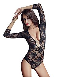 I-Glam Women's Underwear Sexy Lingerie Night Wear Teddy One Piece Bodysuit Stocking Long Sleeve Black