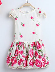 Girl's Fashion Korean Lanterns Roses Flower Print Party Kids Clothing Dresses (100% Cotton)