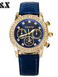 diamante moda três olhos pulseira de couro de quartzo analógico relógio das mulheres (cores sortidas)