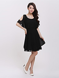 Women's Vintage/Casual Micro-elastic Short Sleeve Above Knee Dress (Chiffon)