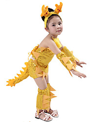 Performance Outfits Children's Polyester Lovely Cartoon Outfit Yellow Kids Dance Costumes