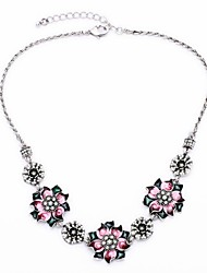 Blooming Flowers Design Silver Plated Choker Necklaces (Rose) (1 Pc)
