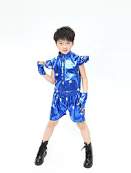 Jazz Performance Outfits Children's Performance Polyester Fashion Star Outfit Blue/Black Kids Dance Costumes