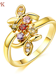 OPK® AAA Zirconium Drill More Flower Leaves 18 K Gold Plating Color Diamond Ring