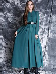 De las mujeres Vestido Midi Escote Chino - Raso - Manga Larga