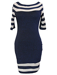 Women's Navy Nude Patchwork Club Dress