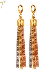 U7® Women's Long Earrings 2015 Unique Design Mix 3 Colors Stainless Steel 18K Gold/Rose Gold Plated Tassel Drop Earrings