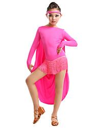 Vestidos(Verde manzana / Fucsia / Rojo / Amarillo,Fibra de Leche,Danza Latina) -Danza Latina- paraMujer / Niños Borla(s)Representación /