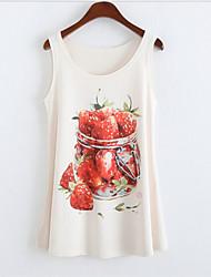 Women's Round Collar Strawberry Print Tank Top