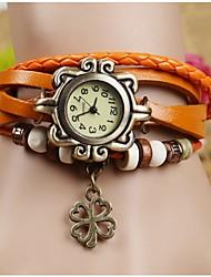 Соха корейские модные женщины клевера браслет часы