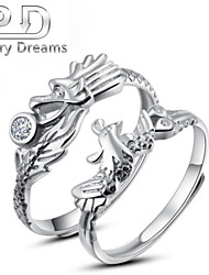 Poetry Dreams Sterling Silver Dragon and Phoenix Adjustable Rings Couple Rings Set
