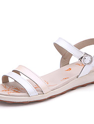 Women's Shoes Leather Flat Heel Open Toe Sandals Casual White