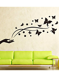 Wall Stickers Wall Decals,  Cartoon Butterfly and Flower PVC Wall Stickers