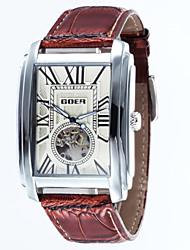 Мужской Часы со скелетом Механические часы Защита от влаги С автоподзаводом Кожа Группа Люкс Черный Коричневый