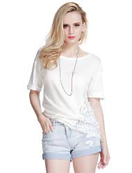 De las mujeres Camiseta - Encaje Escote Redondo - Algodón - Manga Corta