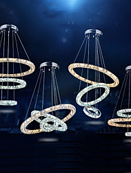 LED Crystal Pendant Lights Lighting Lamps Transparent Crystal Round 3 Rings Cool White AND Warm White Fixtures
