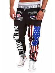 Men's Sweatpants , Casual/Sport Print Cotton/Cotton Blend