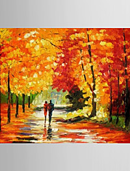 Oil Painting Forest Wood Tree Garden Scenery Hand Painted Canvas with Stretched Framed
