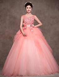 Formal Evening Dress - Pearl Pink Petite Ball Gown Jewel Floor-length Satin / Tulle / Polyester