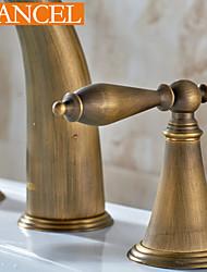 clásico latón antiguo, dos llaves, tres agujeros baño grifo del fregadero