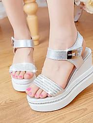 Sandalias ( Cuero Patentado , Plateado/Blanco )- 3-6cm - Tacón Cuña para Zapatos de mujer