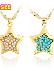 18K Golden Plated  Fashion Star Shape with Imitation Pearl Pendant Necklace