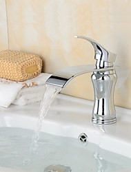 Fashion Waterfall Brass Chrome Bathroom Sink Faucet - Silver