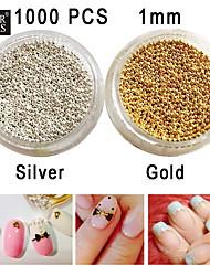 1000pcs Glasperlen lichtecht Nagelkunstdekoration Gold / Silber zu 1mm wählen