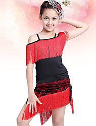 Latin Dance Performance Outfits Children's Fashion Performance/Training Polyester Tassel Outfit Fuchsia/Red Kids Dance Costumes