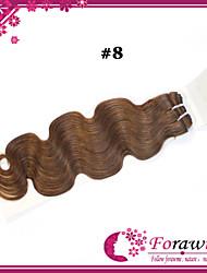 """3pcs / lot 18 """"-24"""" brasileiros extensões de cabelo humano # 8 meio onda do corpo marrom cabelo humano tecer"""