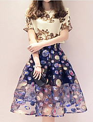 Han Edition Cultivate One's Morality Show Thin Printed Retro Round Collar Short Sleeve Chiffon Dress In The Waist