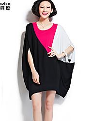 feminino casual / mais tamanhos de manga curta vestido na altura do joelho micro-elástico (algodão / spandex)