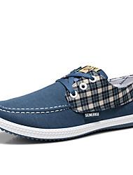 ZNPNXN Men's Shoes Blue/Grey/Khaki Flat Heel Fashion Sneakers (Canvas)