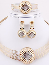 Hot Selling Party Crystal Collar Gold Plated (Including Necklace, Earring, Bracelet, Ring) Jewelry Sets