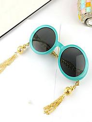 Sunglasses Women's Fashion Round Black / White / Blue Sunglasses Full-Rim