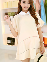 Maternity Fashion Pan Collar Hollow Out Ruffle Short Sleeve Dress