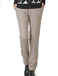 De las mujeres Pantalones Recto - Vintage/Casual/Fiesta/Para Trabajo/Tallas Grandes Rígido - Piel/Poliéster/Piel Sintética